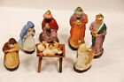 Vintage Lot of 7 Nativity Figures Mary Joseph Manger ANGEL+ German Paper Mache