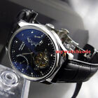43mm PARNIS black dial date power reserve sea-gull 2505 automatic mens watch
