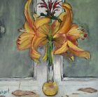Fine Art Original Artist Signed Floral Tiger Lily Acrylic Painting on Canvas