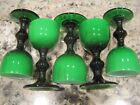 Carlo Moretti Emerald Green Cased Glass Cordials Made in Italy Lot of 5