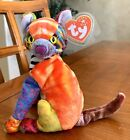 Ty Beanie Baby: Kaleidoscope the Cat  - Retired Multi Color Cat w/Tag In Plastic