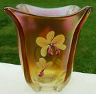 Fenton Glass Painted Golden Orchids on Marigold Carnival Glass Square Vase 75H