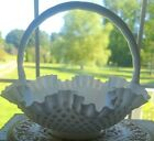 Vintage Fenton Handled Basked Bowl White Milk Glass Hobnail Ruffled Edges