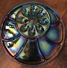 Indiana Carnival Glass Deviled Egg Relish Plate Tray Blue Pebble Leaf Iridescent