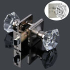 Diamond Crystal Glass Privacy Door Knobs Black Passage Handle Brushed Nickel