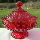 Fenton Vintage Ruby Amberina Hobnail 6W Footed Candy Dish Scalloped Lid MINT