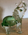 Handblown Glass Elephant Clear + Green Heavy 95 x 95 Made in Mexico
