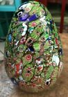 Very Large Millefiori Art Glass Egg 6 Blue And Green Colors 6