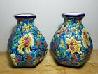 Two Rare French Hexagonal Vase Enamels From Longwy Floral Decoration