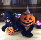Halloween Ty Beanie Babies Lot of 2 Superstition and Trick R. Treat Cat Pumpkin
