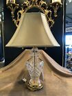 Vintage Waterford Clear Cut Glass Lismore Ginger Jar Table Top Lamp w Shade