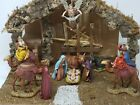 Nativity Set Sears Tree Bark  Moss Finely Crafted Figurines Made Italy Vintage