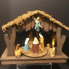 Vintage Nativity Wood Stable Rotating Scene 13 Pieces Musical