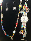 Treasure Necklace Watch Sun Millefori Charms Multi Charms Native Beads 925 Mixed