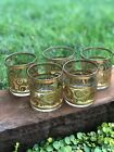 Vintage Culver Gold Leaf Green Toledo Lowball Cocktail Glasses GORGEOUS