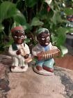 Vintage Salt  pepper shakers Black America music playing couple Occupied Japan