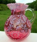 FENTON LG WRIGHT CRANBERRY OPALESCENT DAISY  FERN PITCHER MINT CONDITION 9H