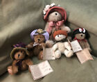 Boyds Bears, Plush, The Head Bean Collection, Hats and Such Series.  Lot Of 5.