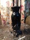 Rare Drake Design BLACK Vase With Stand Tuscan Scroll 875 NEW MINT Without Box