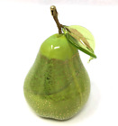 Murano Glass Fruit Blown Lime Green Pear with Gold Foil Made in Italy