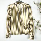 Adrianna Papell Long Sleeve Overlap Splice Blouse Size LM Medium Yellow Striped