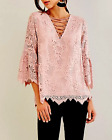 NEW NWT ENTRO LACEUP BELL SLEEVE LACE BLOUSE TOP SHIRT TUNIC DUSTY ROSE PINK L