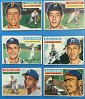 1956 Topps Baseball Cards Lot of 6 Face Law Tanner Spahn Lopez Moon Some Creases