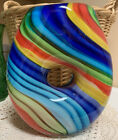 Vase Art Thick Glass Rainbow Multicolor Swirls Striped Heavy Fast Ship
