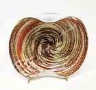 Murano Fratelli Toso Blown Glass Dish Spiral Red Gold Silver Animal Print Italy