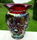 Fenton Ruby Red Carnival Glass Alpine Thistle Vase 9H x 775W Mint1993