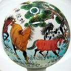 VTG Signed Asian Reverse Painted Paperweight Globe Ball Orb Sphere Horses Stand