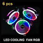 6 PCS 120mm LED Cooling Case Fan PC Computer Quiet Edition CPU Cooler RGB 4 3Pin