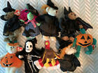 Lot of 9 Ty Halloween Beanie Babies Carver Bear Creepers Hagatha Scary & More