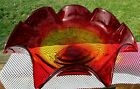 Blenko 1970s Glass Large Ruffled Footed Compote Bowl 16W x 6H RARE