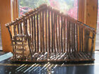 Nativity Manger Stable Crche Barn Rustic Wood Wooden Twigs Rustic Roof 23x15x7