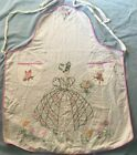 Vintage Apron Embroidered Southern Belle Lady Cottage Shabby Chic Flour Sack