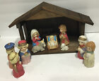 Vintage Kids Nativity Set Wood Stable Ceramic Figures Baby Jesus Stable Mary EC