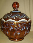 Fenton Cameo Opalescent Covered Candy Dish Amber Vintage Lily Of The Valley