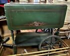 Vintage Hand Painted Drop Leaf Tea Cart Removable Glass Serving Tray