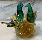 Vintage Murano Sommerso Glass Love Birds On Large Base Barovier Toso Seguso