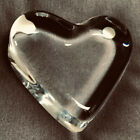Vintage Baccarat Clear Crystal Glass Heart Shaped Figure Paperweight Stamped