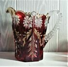 EAPG  RUBY STAINED  MC KEES PURITAN  PITCHER AND 3 GLASS  1890S ERA
