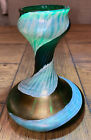 Antique Kralik VASE Green Iridescent Opal Swirl Vase 55H Beautiful Gem Art
