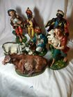 Christmas Nativity Scene 8 Basis Figures Italy 1950s plus one more