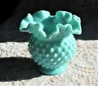 VINTAGE FENTON TURQUOISE MILK GLASS HOBNAIL VASE RUFFLED TOP 4 1 2