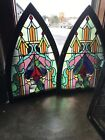 Sg 3460 2available price each antique Stained Glass Arch Window 26 x 385