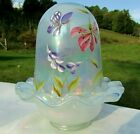 FENTON GLASS FRENCH OPALESCENT Hand Painted Butterfly  Floral Fairy Lamp