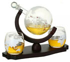 Whiskey Etched Globe Decanter Set Husband Father Brother Friend Wedding Gift