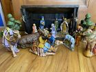 Cresch Manger Nativity Scene With Wood Barn and 15 Ceramic Pieces Large Pieces