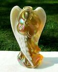 Fenton Autumn Gold Carnival Glass Angel Figurine w Coralene Beaded Wings 7H HTF